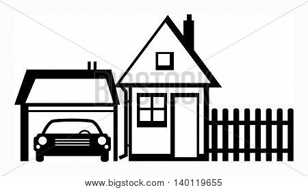 House and garage on white background, vector illustration