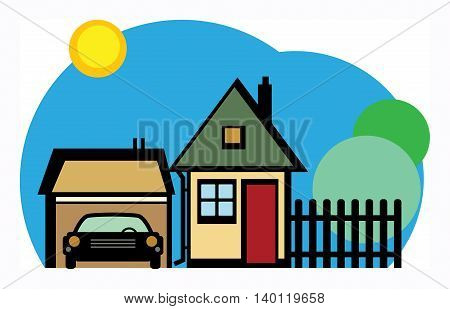 Home and garage, sunny day, vector illustration