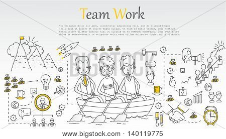 Doodle line design of web banner templates with outline icons of team work.Vector illustration concept for website or infographics.