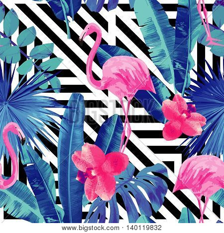 Watercolor tropic pink flamingos and orchid with of trendy blue floral plant jungle palm banana leaf Wallpapers paradise beach summer bird seamless vector pattern. Black and white geometric background