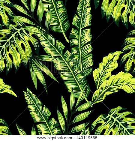 Painting tropic summer seamless vector pattern with palm banana leaf and plants. Floral background jungle. Print trendy bunch exotic flower wallpaper.