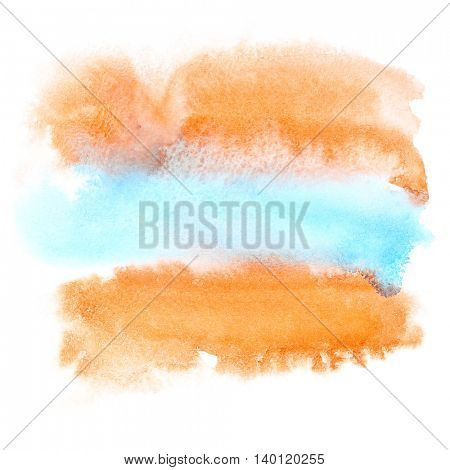Red-blue watercolor brush strokes isolated on white -  abstract background