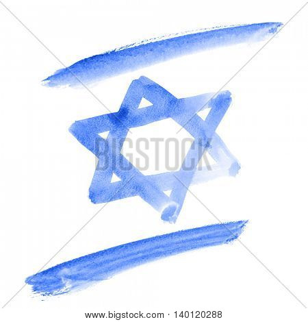 Watercolor flag of Israel