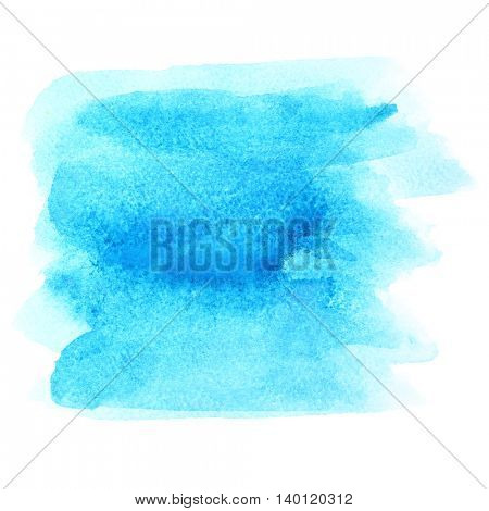 Blue watercolor brush strokes isolated on white -  abstract background