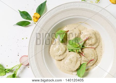 ravioli with mushrooms