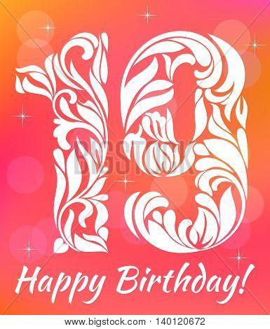 Bright Greeting Card Invitation Template. Celebrating 19 Years Birthday. Decorative Font With Swirls