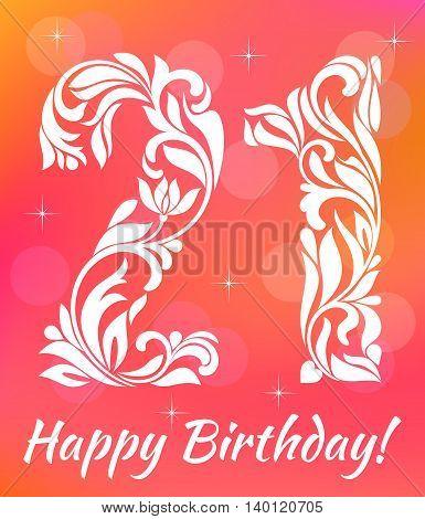 Bright Greeting Card Invitation Template. Celebrating 21 Years Birthday. Decorative Font With Swirls