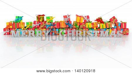 Merry Christmas Silver Text And Gifts