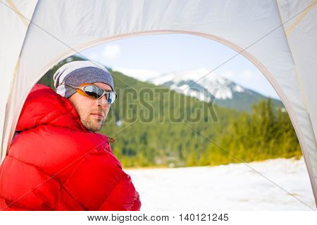 Portrait Of Climber In A Tent.