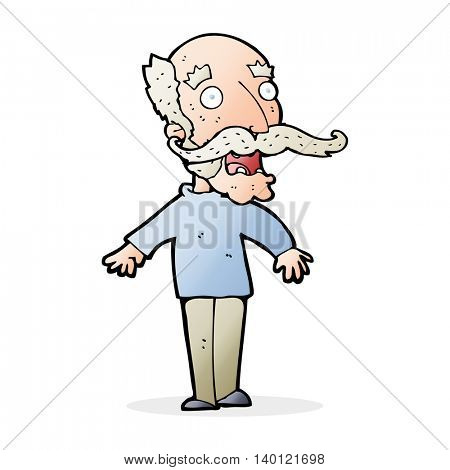 cartoon old man gasping in surprise