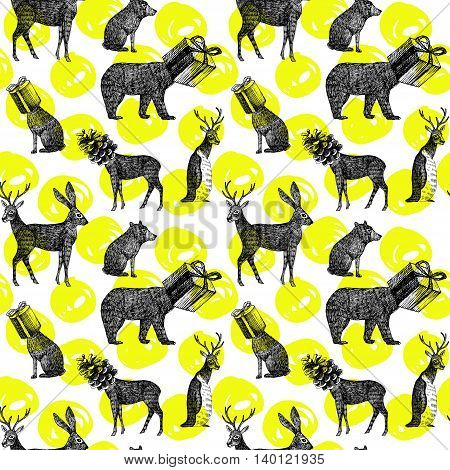 Christmas illustration hand drawn in black ink. Xmas seamless pattern with winter animal deer hare bear penguin with head as gift and cone. Fashion exotic wallpaper poster on a white background