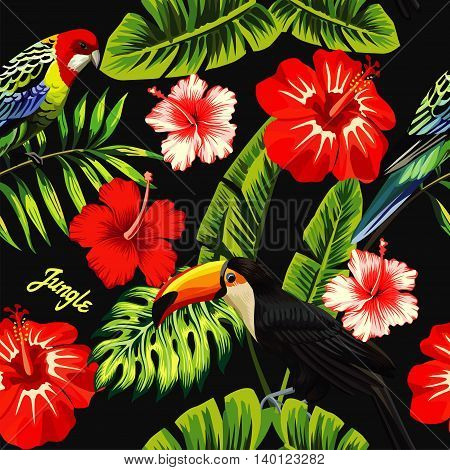 Tropic bird toucan and multicolor parrot on the background of palm banana leaf red and white exotic hibiscus flowers with slogan jungle. Print summer floral plant wallpaper. Seamless vector pattern