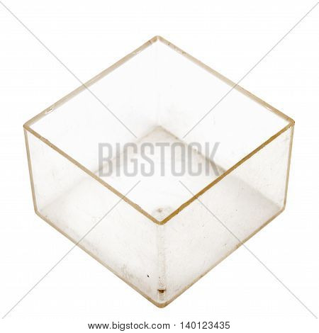 Old grungy plastic box isolated on white background