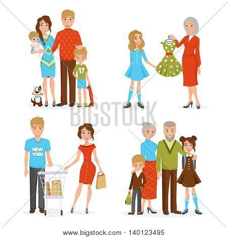 Happy big family decorative collection with mother father daughter son newborn grandfather and grandmother flat icons vector illustration