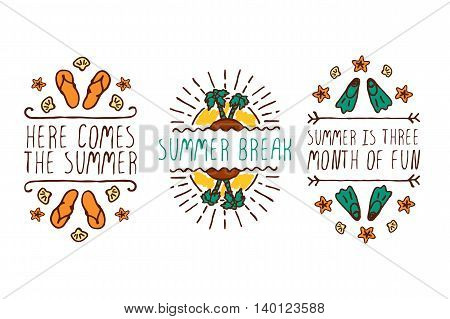 Set of colorful summer hand-sketched elements with sun, trees, flippers and shells on white background