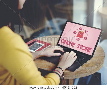 Shopping Online Buy Sale Shopahoslics Concept