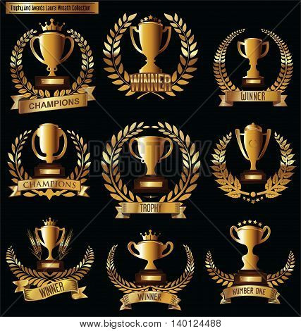 Award Cups And Trophy Icons With Laurel Wreaths Colelction 3.eps