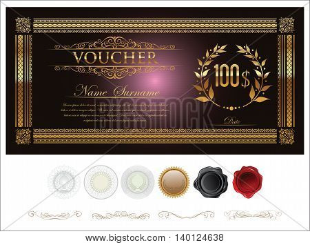 Gift Certificate Retro Vintage Template 3.eps