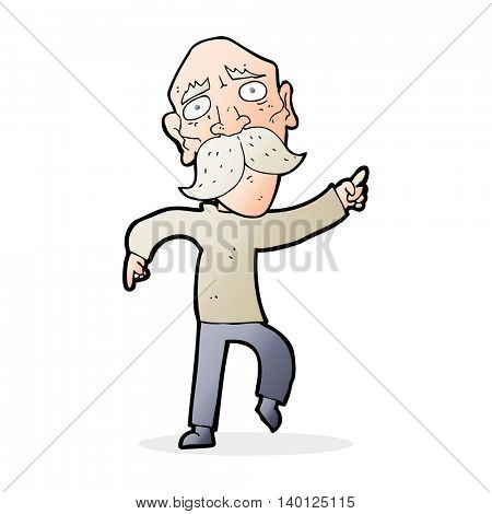 cartoon sad old man pointing