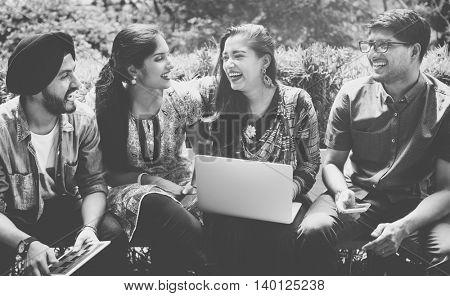 Friends Hangout Technology Gadgets Outdoors Concept