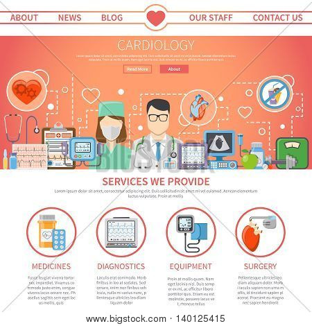 Website flat page presenting information about services provided by cardiology center and tools for heart care vector illustration
