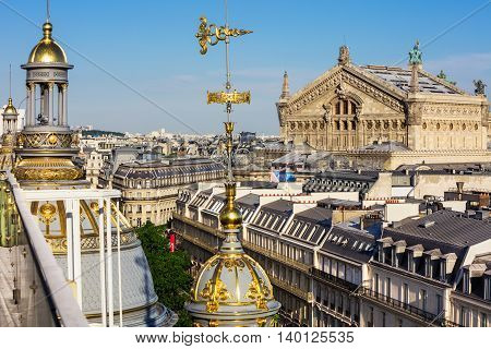 Panorama of Paris- Opera Garnier in the background.View of Paris from the roof of Printemps Department Store