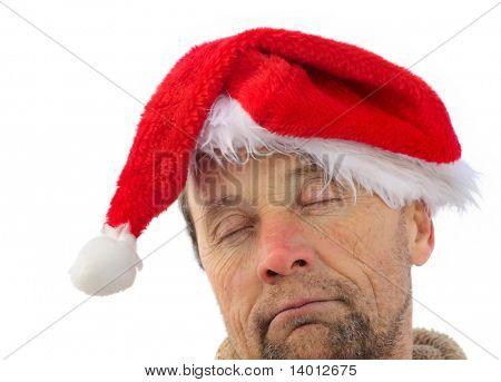 Drunken men in santa hat isolated on white