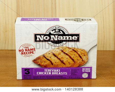 RIVER FALLS,WISCONSIN-JULY 27,2016: A box of No Name brand frozen Teriyaki chicken breasts.