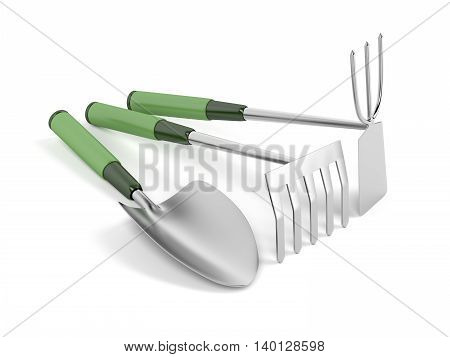 Small garden tools on white background, 3D illustration