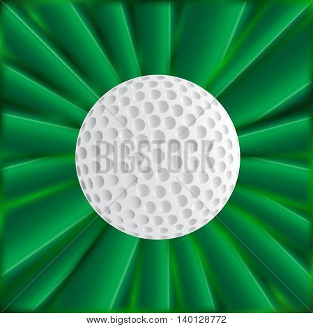 A typical golfball over a green material background