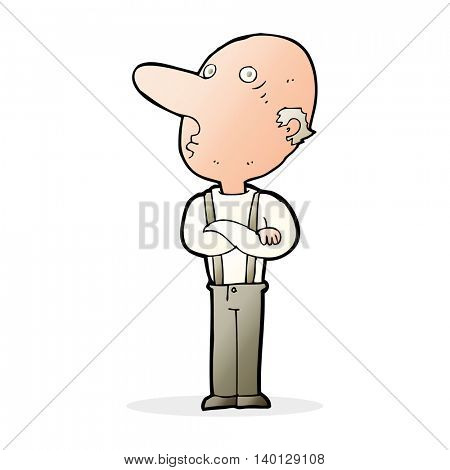 cartoon old man with folded arms