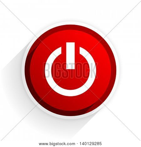 power flat icon with shadow on white background, red modern design web element