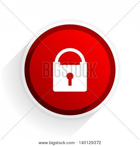 padlock flat icon with shadow on white background, red modern design web element