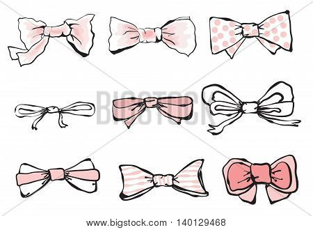 Vector Set of hand-drawn neckties. Cute neckties