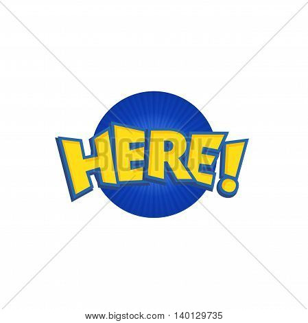 Here phrases written in a cartoon game style yellow color with blue stroke.