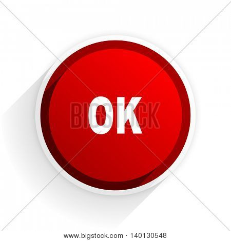 ok flat icon with shadow on white background, red modern design web element