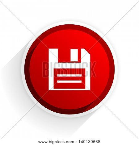 disk flat icon with shadow on white background, red modern design web element