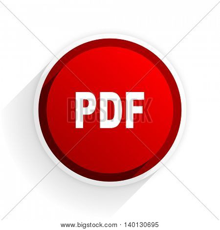 pdf flat icon with shadow on white background, red modern design web element