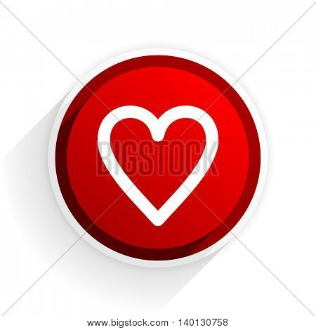heart flat icon with shadow on white background, red modern design web element