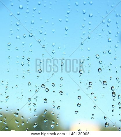 background of drops on glass of the window