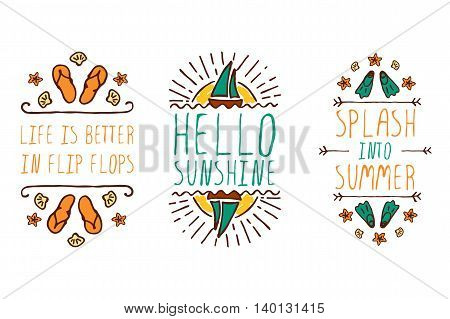 Set of colorful summer hand-sketched elements with sun, sail boats, shells and flippers on white background