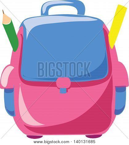 Cartoon school bag, vector illustration for school