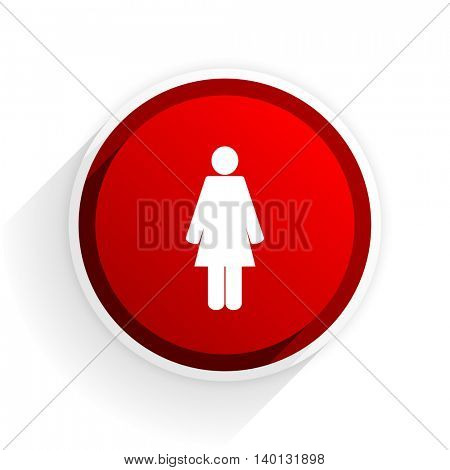 female flat icon with shadow on white background, red modern design web element
