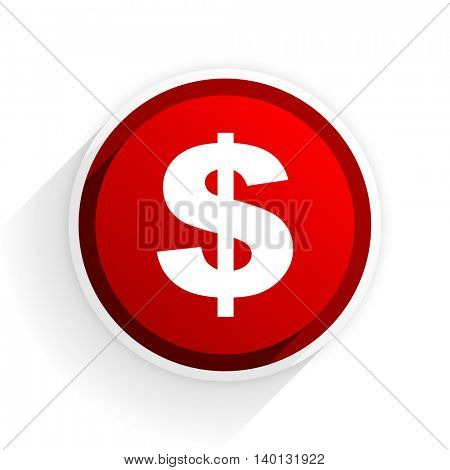 dollar flat icon with shadow on white background, red modern design web element