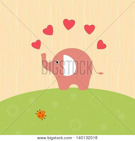 Card design with elephant, bug and hearts.