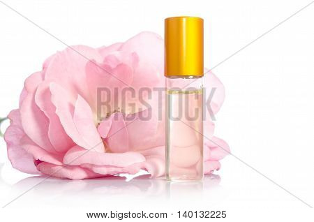 Face Cream Bottle Whith Flowers Isolated On White