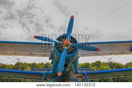 Aircraft Propeller on background sky in hdr effect. Close-up. Vintage.