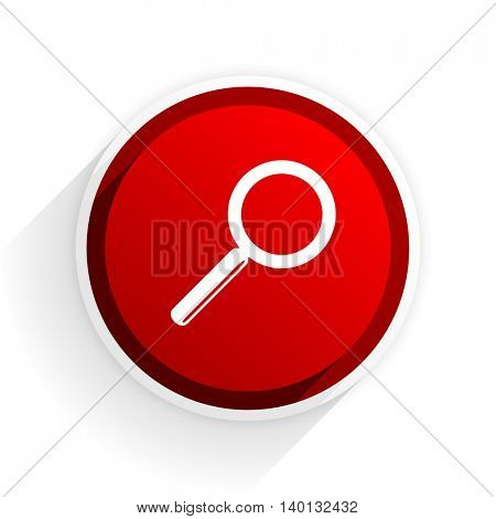 search flat icon with shadow on white background, red modern design web element