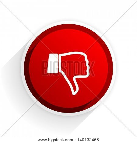 dislike flat icon with shadow on white background, red modern design web element