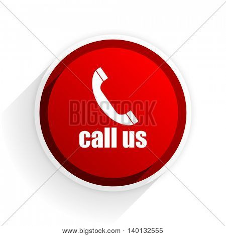 call us flat icon with shadow on white background, red modern design web element